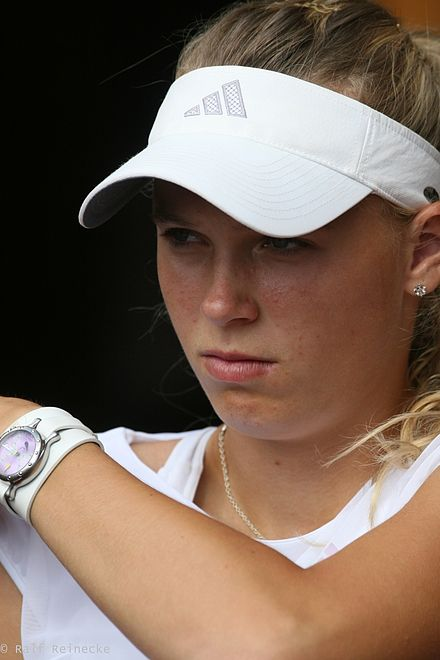 Wozniacki won her first WTA title at Nordic Light Open Stockholm 2008 Caroline Wozniacki 01.jpg