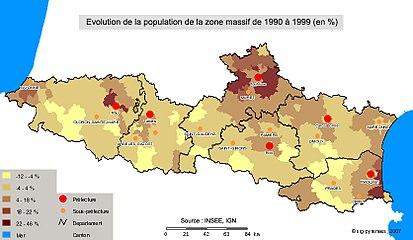 Carte d'évolution de la population de 1990 à 1999 dans la zone massif.jpg