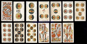 "Suit of coins - Suit of Coins (""Denari"") from an 18th-century Venetian deck"