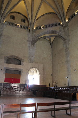Castel Nuovo - Inside the Barons' Hall with its high, vaulted ceiling