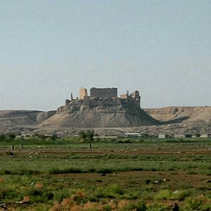 Al-Rahabi - Rahba fortress as seen from Mayadin city near Euphrates