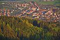 Centrum města při východu slunce z rozhledny Královec, Valašské Klobouky, okres Zlín.jpg