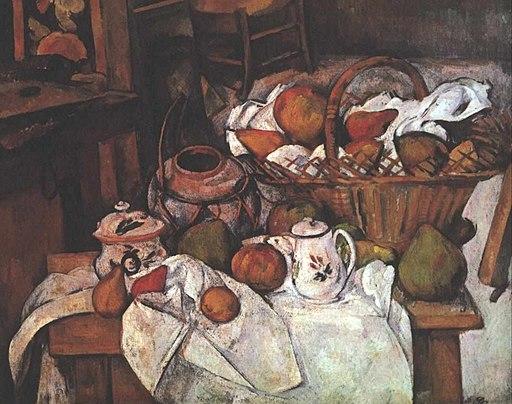 """512px-Cezanne_-_Stilleben_mit_Fr%C3%BCchtekorb Bildanalyse """"Stillleben mit Früchtekorb"""" von Paul Cezanne (Beschreibung, Wirkungen)"""