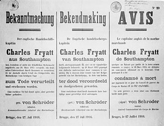 Charles Fryatt - Notice of execution in German, Dutch and French