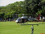 Chegada do Helicóptero Águia 14 (PR-SMU) da Polícia Militar no Domingo com o Astronauta. Evento comemorativo dos 10 anos do primeiro brasileiro no espaço, o Astronauta bauruense Marcos Pontes. - panoramio.jpg