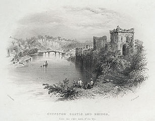 Chepstow castle & bridge, from the right bank of the Wye