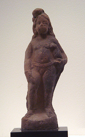 History of Puducherry - Child with bird, a classical Greco-Roman motif, Virampatnam, Arikamedu, 1st-2nd century. Musee Guimet.