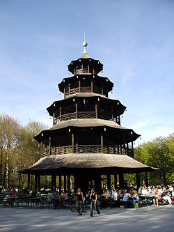 Chinesischer Turm (Chinese Tower) in the Englischer Garten, Munich, Germany. The initial structure was built 1789–1790.