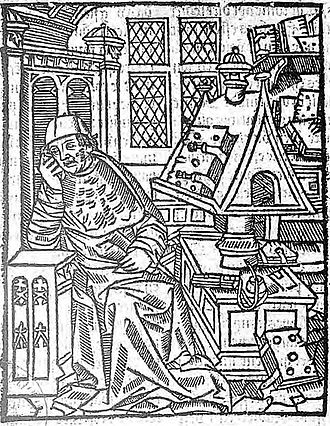 Chrétien de Troyes - Engraving considered to be a representation of Chrétien de Troyes in his work studio (1530)