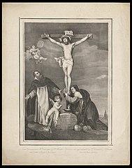 Christus aan het kruis met de H. Dominicus en Rosalie