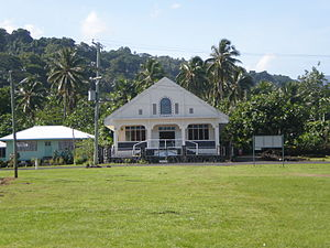 Samoan culture - A church in Matavai village, Savai'i.