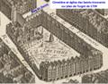 Cimetière et église des Sts-Innocents sur plan de Turgot.png
