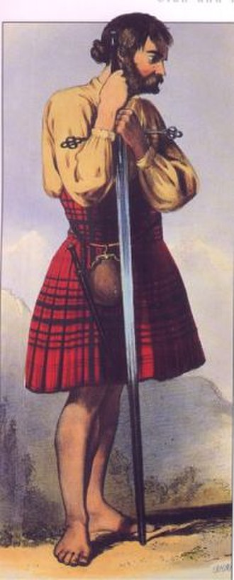Clan MacDougall - A Victorian era, romanticised depiction of a member of the clan by R. R. McIan, from The Clans of the Scottish Highlands, published in 1845.