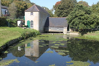 Claverton Pumping Station - Claverton Pumping Station with the pump house on the left, the wheelhouse to the right and the millpond in the foreground