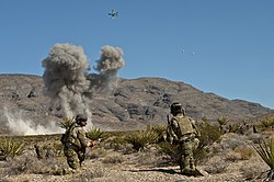 A close air support training mission at the Nevada Test and Training Range