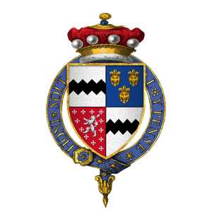 Thomas West, 9th Baron De La Warr - Arms of Sir Thomas West, 9th Baron De La Warr, KB, KG