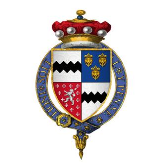 Thomas West, 9th Baron De La Warr - Arms of Sir Thomas West, 9th Baron De La Warr, KB, KG
