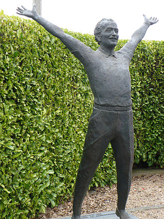 Mallory Park - A statue of Lotus Cars and Team Lotus founder Colin Chapman, at the Hairpin Gate into the Mallory Park motor racing circuit