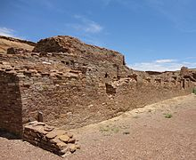 A color picture of a large masonry wall