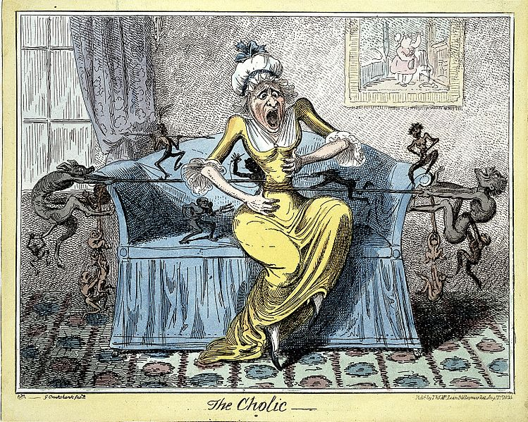 File:Coloured etching; 'The Cholic'; by Cruikshank Wellcome L0002395.jpg