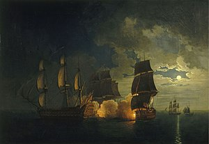 Action of 18 October 1782 - Combat du Scipion contre le London, credited to Rossel de Crecy, on display at Toulon naval museum.