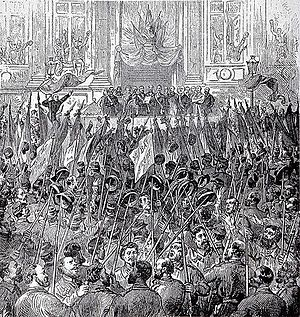 Socialism - The celebration of the election of the Commune on 28 March 1871—the Paris Commune was a major early implementation of socialist ideas