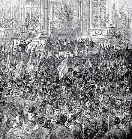 The celebration of the election of the Commune on 28 March 1871—the Paris Commune was a major early implementation of socialist ideas Commune 28 mars.jpeg