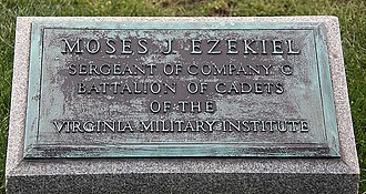 Moses Jacob Ezekiel - Ezekiel's grave on the north side of the Confederate Memorial at Arlington National Cemetery