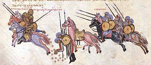 Doukas - Constantine Doukas escapes from Arab captivity, throwing gold coins behind him to delay his pursuers. Miniature from the Madrid Skylitzes chronicle.