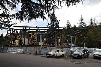 Chiatura - Construction site for new central ropeway station in Chiatura