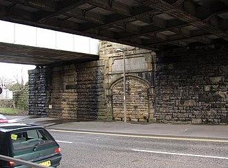 Cooper Bridge railway station - Blocked entrance to former railway station, Cooper Bridge Road.