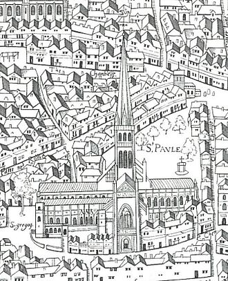 "Old St Paul's Cathedral - Old St. Paul's as shown on the ""Copperplate"" map of the 1550s"
