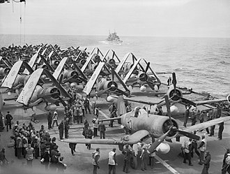 Operation Mascot - Corsair fighters and Barracuda bombers ranged on the flight deck of HMS Formidable during operations off Norway in July 1944