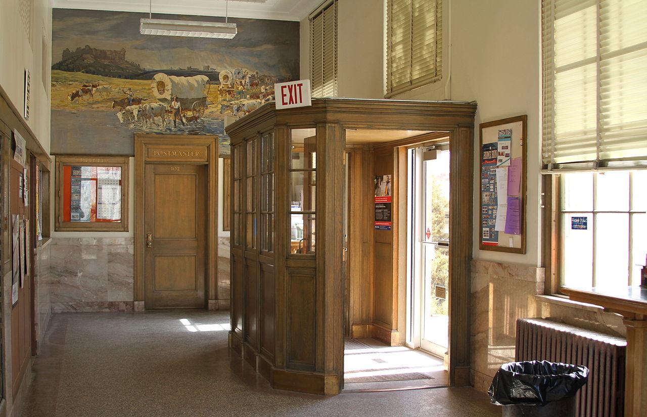 825 #936638  Crawford Nebraska Post Office Entry Vestibule.JPG Wikimedia Commons picture/photo Commercial Building Entry Doors 45391280