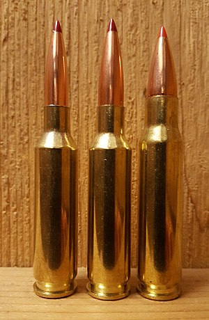 6.5mm Creedmoor - From left: 6mm Creedmoor, 6.5mm Creedmoor, .308 Winchester