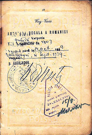 Zalishchyky - Crossing the border at Zaleszczyki into Romania on 15 September 1939, 2 days before the Soviet invasion from the east - passport.