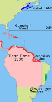 Durch die Konquistation für die Krone Kastiliens eroberten Gebiete in Südamerika ab 1500; das durch Hernán Cortés (Spanische Eroberung Mexikos) eroberte Gebiet ist nur unvollständig abgebildet. (Quelle: Wikimedia)