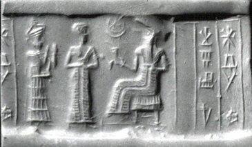 Cylinder seal and modern impression Presentation scene,ca. 2000–1750 B.C. Isin-Larsa