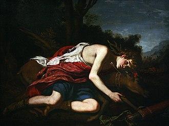 Cyparissus - Cyparissus (1670s) by Jacopo Vignali: the boy mourns his pet deer (Musée des Beaux-Arts de Strasbourg)