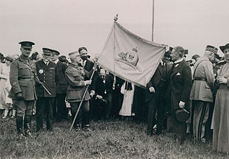 Royal 22nd Regiment - Émile Fayolle Marshal of France, being awarded the flag of Canada's Royal 22e Régiment on the Plains of Abraham in Quebec City, Quebec, Canada.1921.
