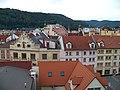 Děčín, Křížová ulice a stará radnice, z Růžové zahrady.jpg