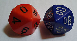 "Dice notation - A typical pair of percentile dice including a ""tens"" die"