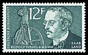 Rudolf Diesel - Rudolf Diesel on a German postage stamp
