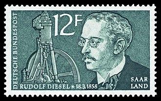 Rudolf Diesel - Rudolf Diesel on a German postage stamp