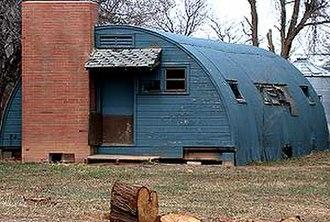 Buckeye, Colorado - Quonset hut farm residence along County Road 80 in Buckeye.