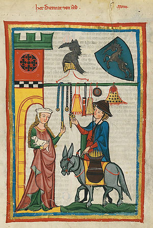 Dietmar von Aist - Dietmar von Aist pictured as a peddler in the Codex Manesse, f. 64r