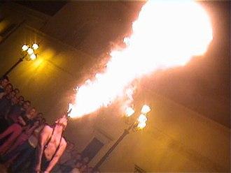 Fire breathing - Street performer fire breathing