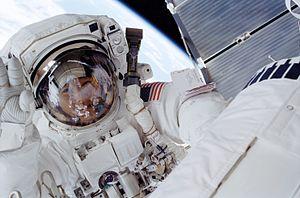 Daniel M. Tani - Tani during his STS-108 spacewalk.