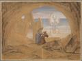 Dante erblickt ein von einem Engel geleitetes Schiffchen, in welchem Seelen nach dem Purgatorium gebracht werden (SM 942f).png