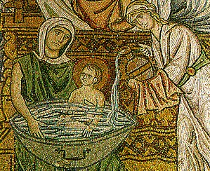 Christian art - A mosaic from Daphni Monastery in Greece (ca. 1100), showing the midwives bathing the new-born Christ.